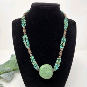 Turquoise Chip Bali Sterling Silver Bead Necklace